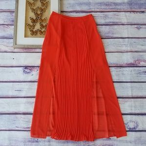 F21 Red Orange Pleated High Waist Maxi Skirt M